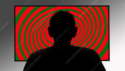 Person in front of swirly tv screen