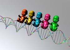 DNA with human babies, illustration