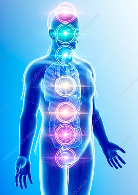 Chakra energy points, illustration