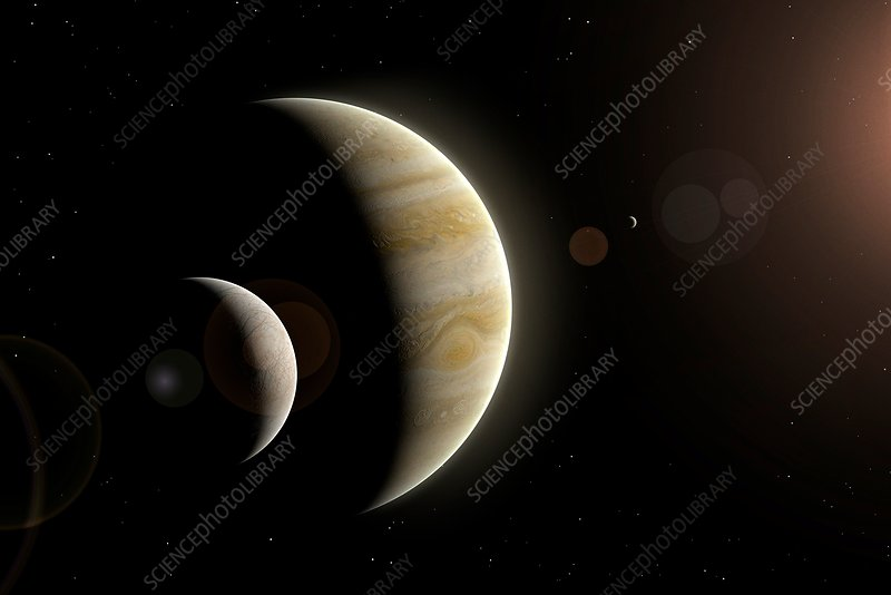 Artwork of Europa, Io and Jupiter
