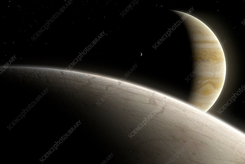 Artwork of Europa and Jupiter