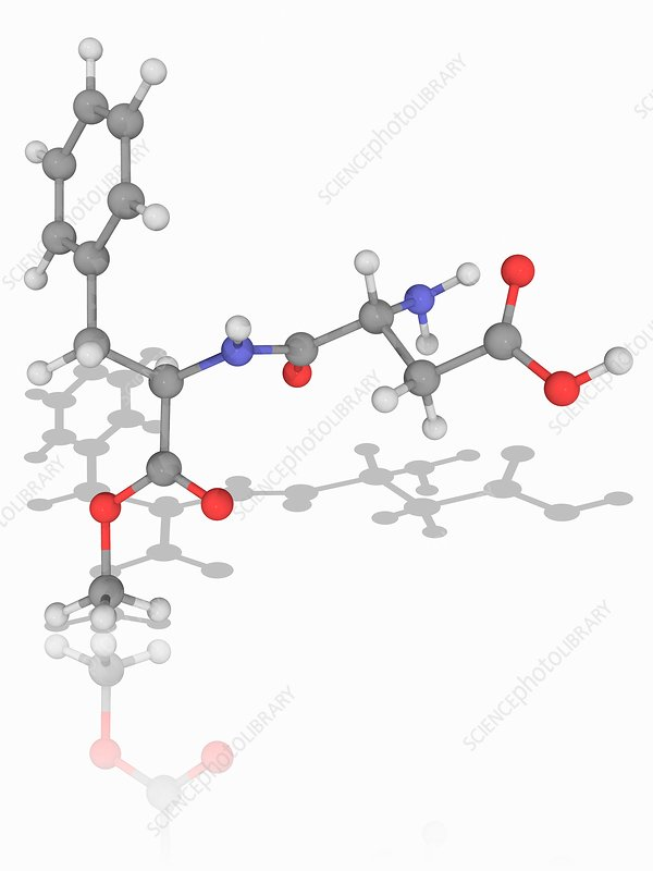 Aspartame organic compound molecule