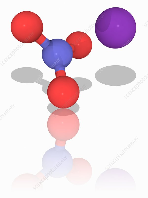 Potassium nitrate chemical compound molecule