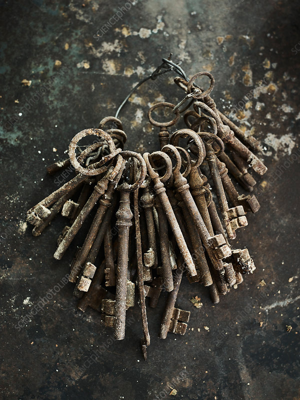 Rusted old-fashioned keys on ring