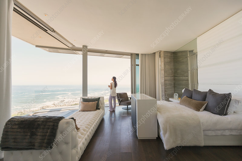 Woman looking at ocean view