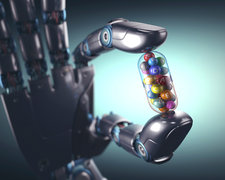 Robotic hand holding multivitamin, illustration