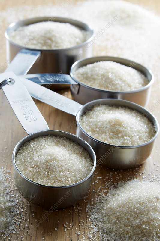 Measuring cups with sugar