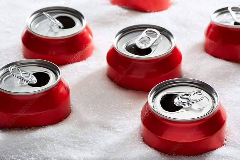 Drinks cans in sugar