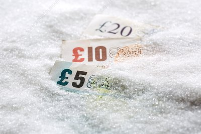 Banknotes in sugar