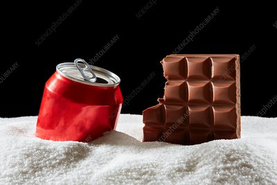 Bar of chocolate, drinks can and sugar