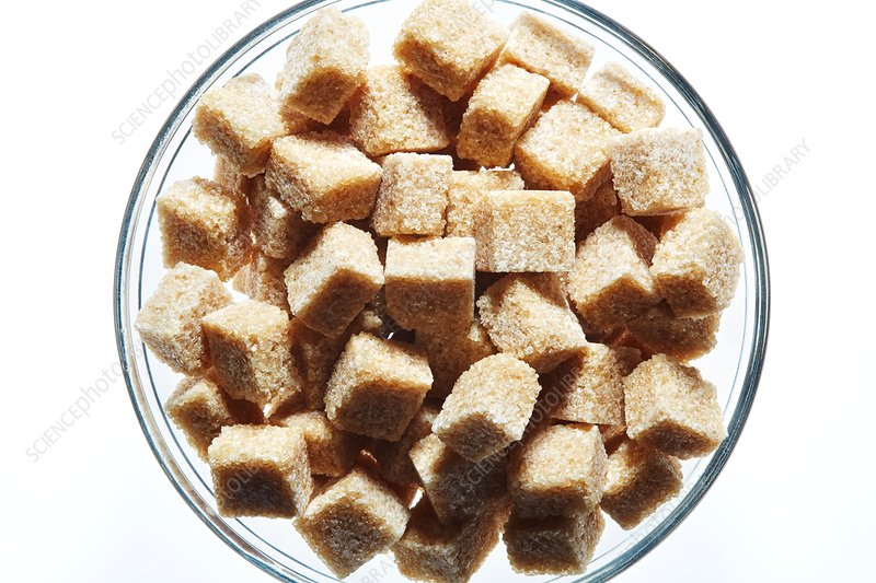 Brown sugar cubes in bowl