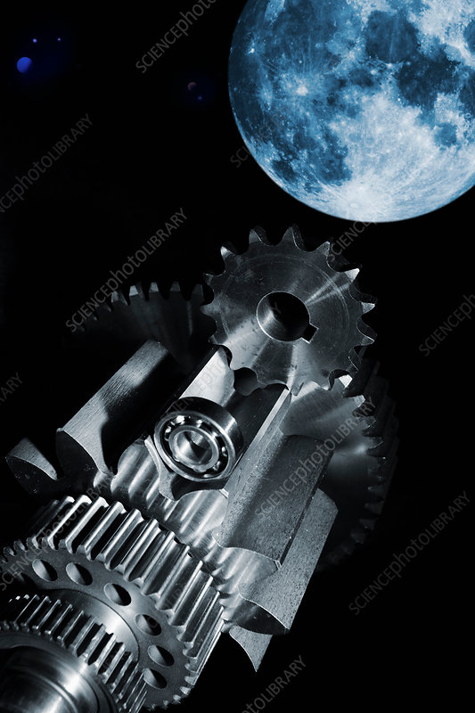 Gears and cogs with moon