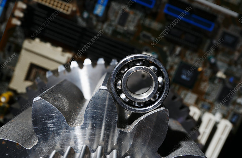 Gears and cogs with computer parts