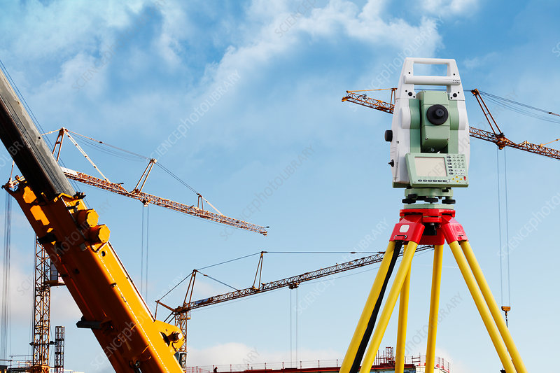 Surveying equipment on industrial site