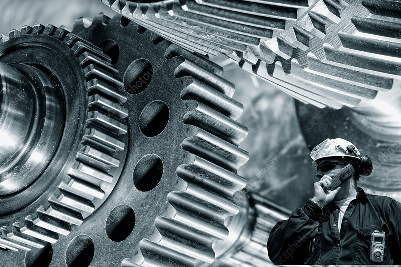 Engineer with gears and cogs