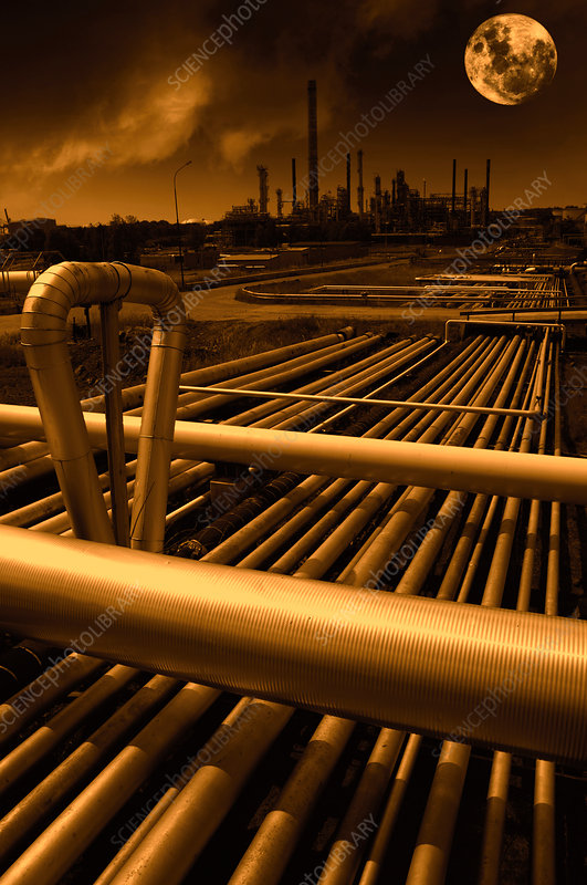 Pipes on petrochemical plant with moon