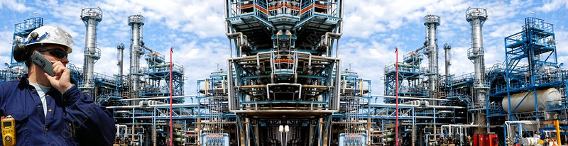 Man working at petrochemical plant