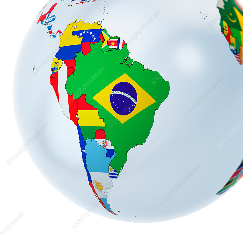 National flags on globe