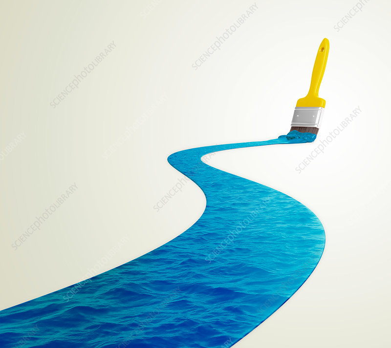 Paintbrush and blue water
