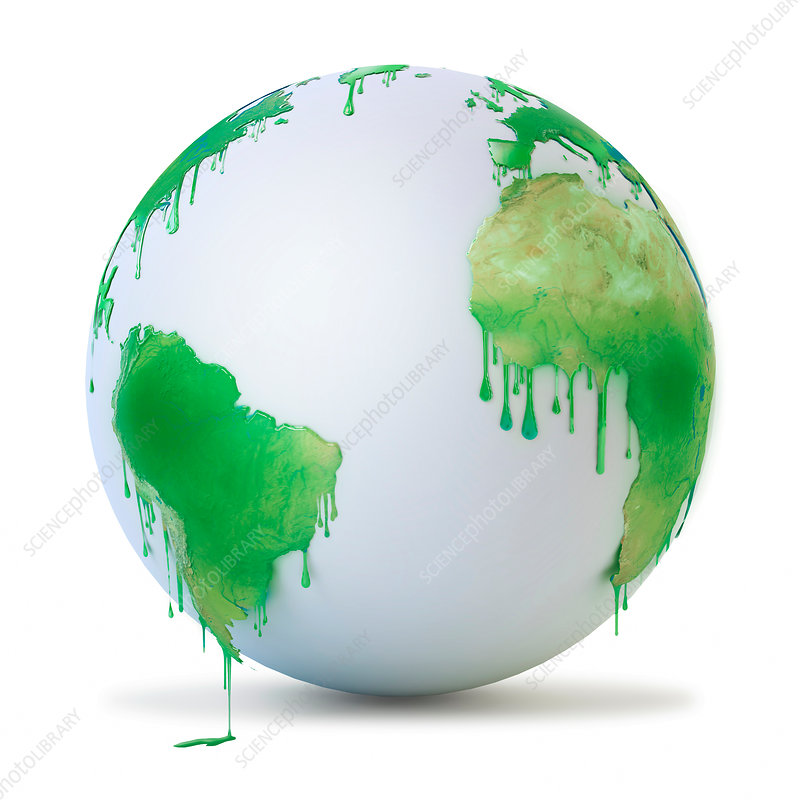Wet green paint dripping from the globe