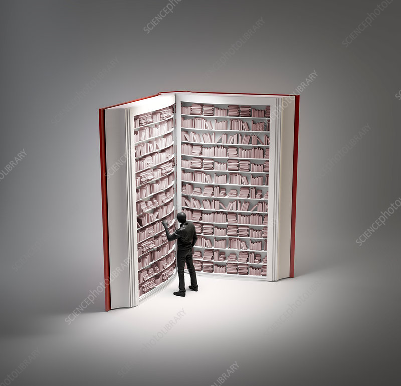 Bookshelves in book with human figure
