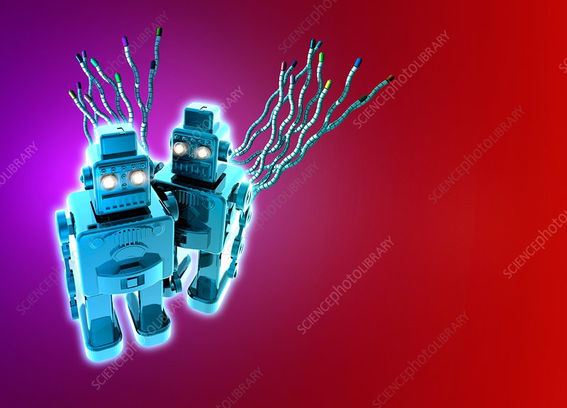 Robots on plain background, illustration