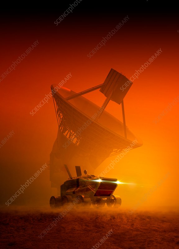Vehicle and satellite on planet, illustration