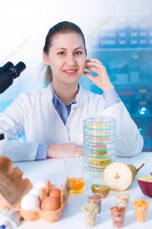 Portrait of woman in food quality control laboratory