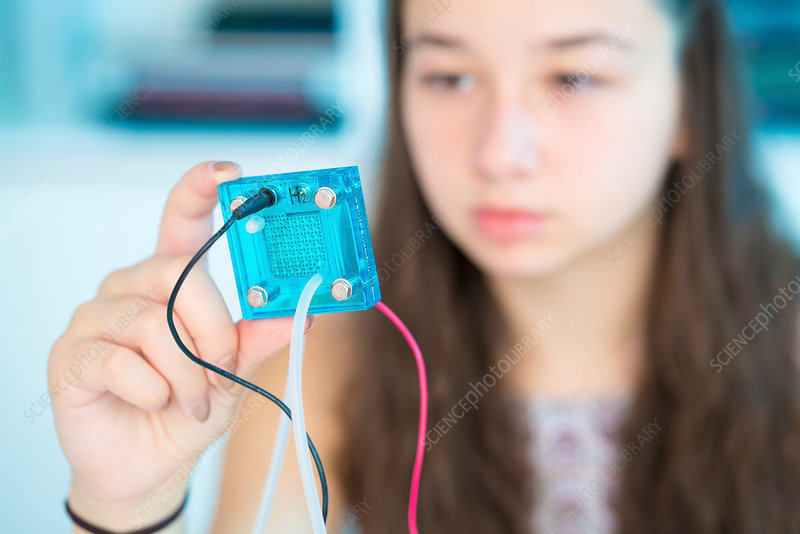 Girl testing proton exchange membrane cell