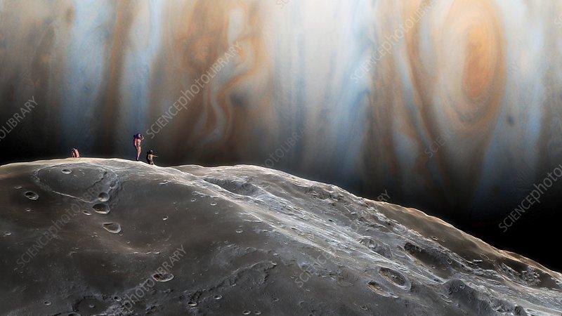 Artwork of humans exploring Amalthea