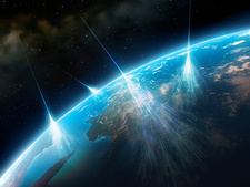 Artwork of Cosmic Rays Hitting Earth