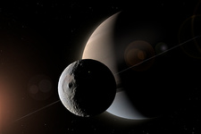 Artwork of Saturn and Mimas