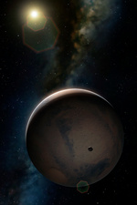 Artwork of Mars and its moon Phobos