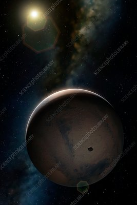 Artwork of Mars and its moon Phobos