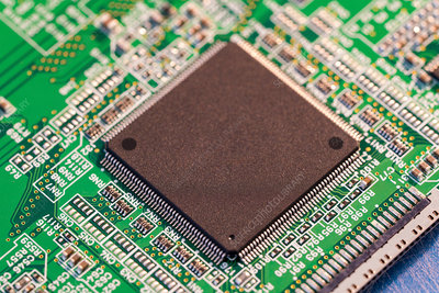 Silicon chip on a circuit board microprocessor