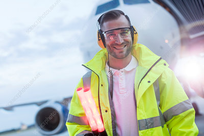 Portrait smiling air traffic controller