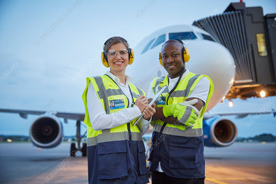 Portrait confident air traffic control ground crew