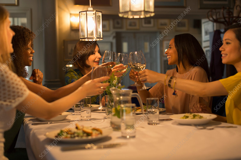 Women friends toasting white wine glasses