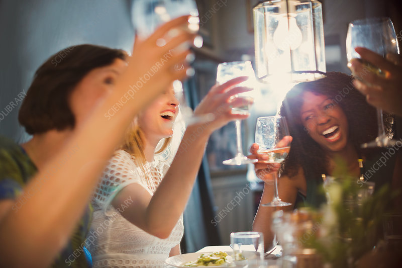 Laughing women friends toasting wine glasses