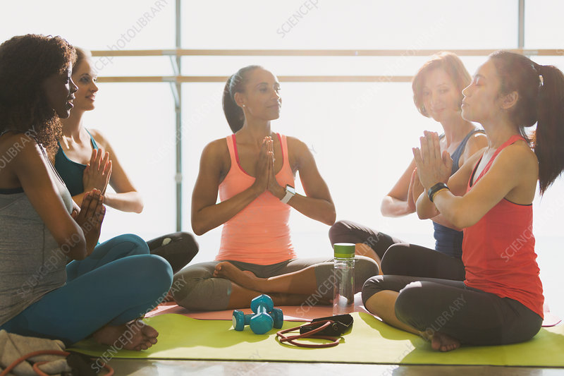 Serene women meditating in yoga class gym studio