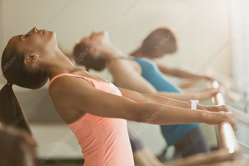 Women stretching in backbend at barre