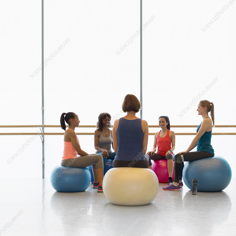 Women on fitness balls in circle