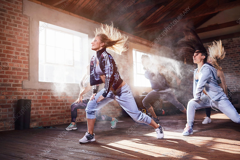 Young women hip hop dancers dancing in studio