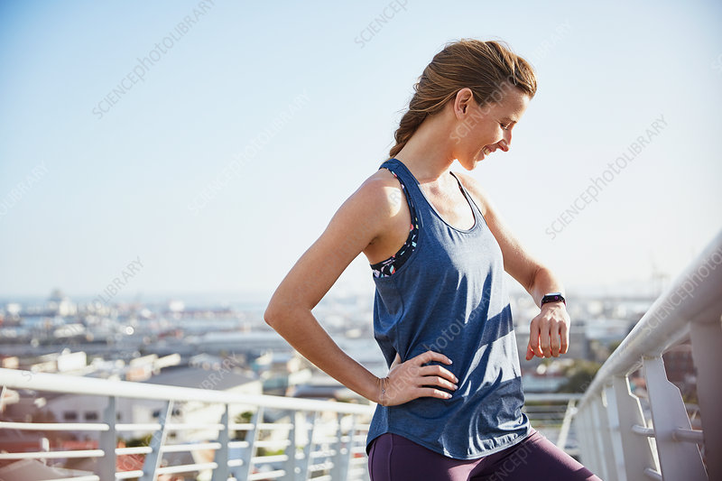 Female runner resting