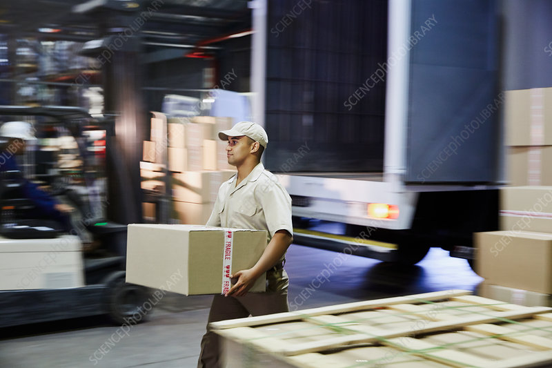 Worker carrying cardboard box