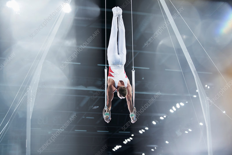 Male gymnast on gymnastics rings