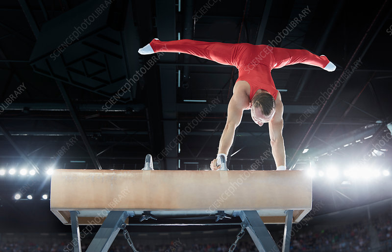 Male gymnast on pommel horse