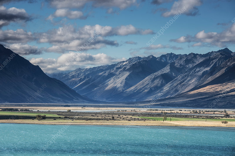 Mountains and Lake Ohau, New Zealand