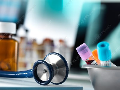 Blood samples and stethoscope