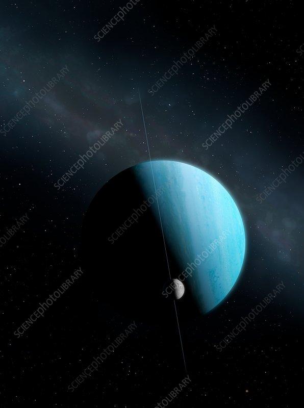 Artwork of Uranus and Miranda